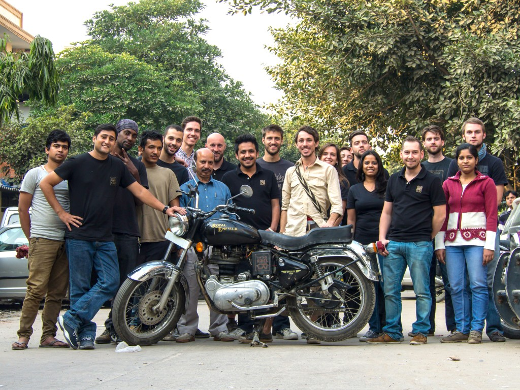 With the crew at Vintage Rides in New Delhi Royal Enfield Bullet tours New Delhi India