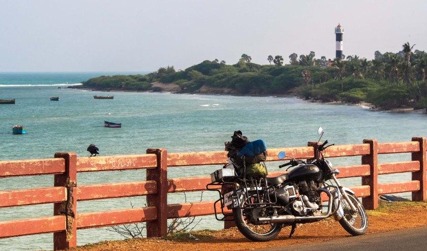 Bala on a one kilometer long bridge across the Indian Ocean to the island of Ramashwaran