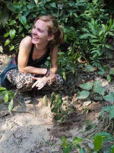 Magdalena, happy to have found some tiger vomit