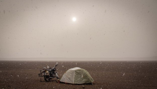 Sunset snowstorm at 4,000 Meters
