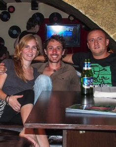 Karaoke night with our couchsurfing host, Andrei in Baku