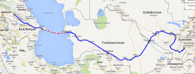 This is our route, about 2,250k (1,400miles) closer to the finish line. Click on the pic to be taken to GoogleMaps